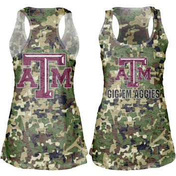 Texas A&M Aggies Women's Cover-Up Burnout Tank Top - Camo