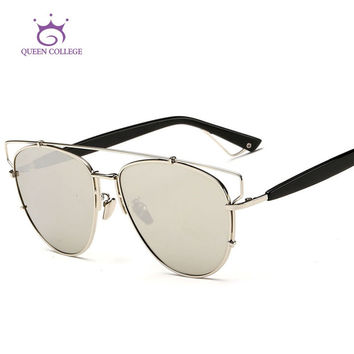 Queen College Newst Alloy Frame Brand Polarized Sunglasses Women Polaroid Flat Lens Sun Glasses Vintage 7colors UV400 QC0247