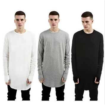 3 color 2016 NEW TOP kanye west YEEZY men's Long sleeve t-shirts extended curved hem o