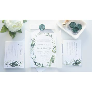 Green and Silver Vellum and Wax Seal Wedding Invitation - SAMPLE SET