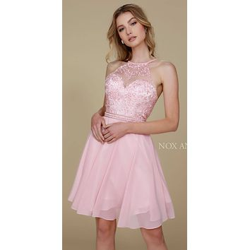 Nox  Anabel T629 Blush A Line Short Homecoming Halter Dress