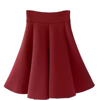 Red High Waisted Skater Midi Skirt
