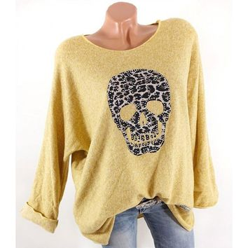 Women Skull Print T Shirt O-Neck Long Sleeve Casual Streetwear