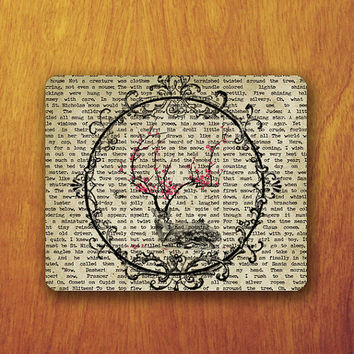 Vintage Floral Circle Abstract Old Newspaper Rose On Deer Drawing Mouse PAD Mousepad Accessory For DeskOffice Personalized Office Pad Mat