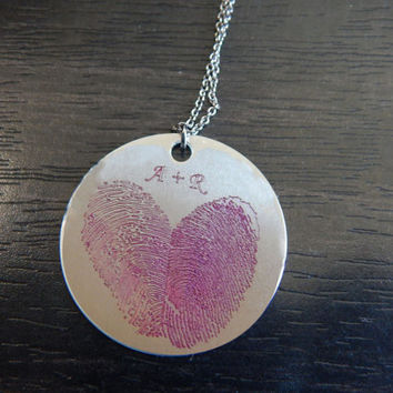 Pink Custom Personalized Fingerprint Heart Pendant Necklace, Great Holiday Gift, Birthday Gift, Memorial Jewelry