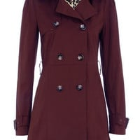 Burgundy double breasted Trench Coat - Coats  - Clothing  - Dorothy Perkins United States