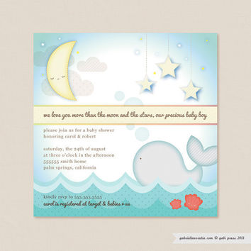 Moon and Stars Baby Shower  Set of 25 Invitations by gabipress