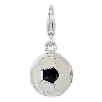 Sterling Silver Polished Enamel Soccer Ball with Lobster Clasp Charm