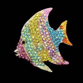 OBN Vintage Broach Gold Tone Tropical Fish Brooch Rhinestone Pins Jewelry brooches for women
