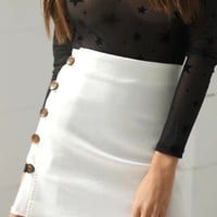 White High Waist Button Side A-line Mini Skirt
