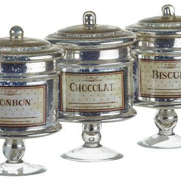 Glass Sweet Canisters, Set of 3, Kitchen Canisters, Canning & Spice Jars