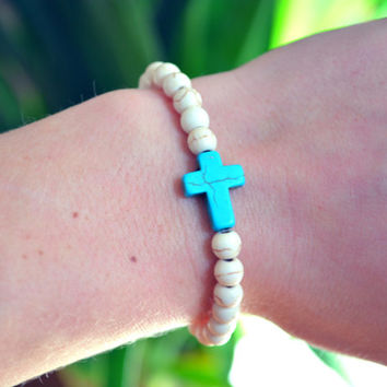 Cross Bracelet Turquoise Cross Arm Candy Stretchy Bohemian Boho Bracelet Stackable Arm Candy Elastic Cross Bracelet Beaded Cross Jewelry