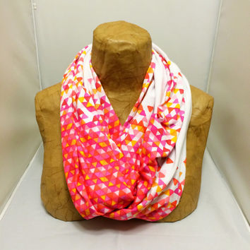 Colorful Knit Scarf - Rose Gold Funfetti Storm - Confetti Scarf, Jersey Circle Scarf, Loop Scarf, Eternity Scarf