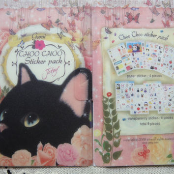 Cat STICKER PACK 8 sheets with lovely folder/Korean Sticker Pack/Cute Sticker Pack/Cat stickers PLANNER/Cat sticker book