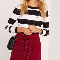 Missguided - Peached Lace Up Eyelet Pocket Skirt Burgundy
