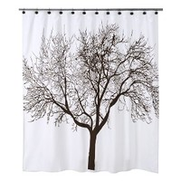 Tree Shower Curtain and Shower Hook Set - Brown