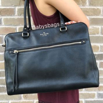 LAST1 NWT Kate Spade Cobble Hill Kiernan Black Leather Large Double Zip Tote Purse