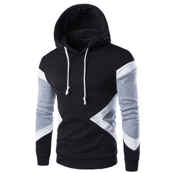 Mens Hoodies 2016 New Winter Pullovers Leisure Patchwork Colors Fashion Sweatshirts Hooded Coats Hoddies Sweat Homme 9237
