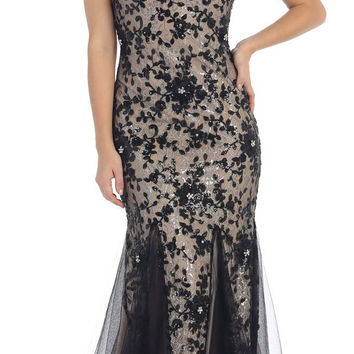 Prom Long Sleeveless Lace Applique Sequins Mesh Ballgown Low Back Formal Dress