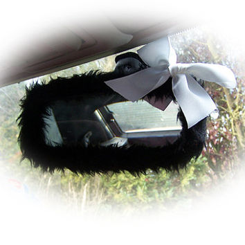 Black mirror cute faux fur furry fluffy fuzzy rear view interior car mirror cover with cute white satin bow goth emo punk halloween