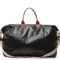 black leather weekender by Clare V.