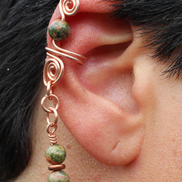 Copper Ear Cuff Unakite Gemstones, Unisex, Tribal BOHO Earthy, Hypoallergenic, Green Salmon Color, Nature Inspired, Natural, Organic