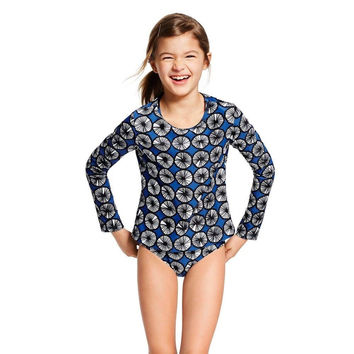 Marimekko for Target Girls' Long-Sleeve Rashguard, Appelsiini Print/Blue, Large