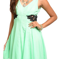 Lime Black Classy Sexy Embellished Cut Out Sleeveless Date Dress