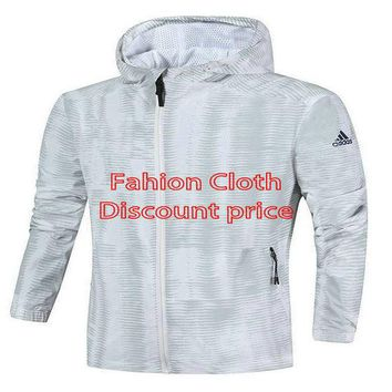 Adidas Clothing Fashion Windbreaker Jacket Hoodies UK XS-2XL White