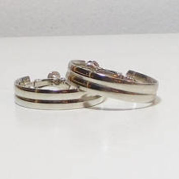 """Clip On Silver Hoop Earrings, Screw Back, Wide Band, 1 1/4"""" Wide, Never Worn, Vintage Costume Jewelry, Silver Tone"""
