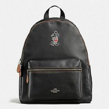 DCCK8X2 New Authentic Coach Mickey F59378 Charlie Backpack Shoulder Bag In Glove Calf Leather
