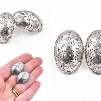 Vintage Sterling Silver Oval Pierced Earrings, Scroll, Scrolling, Etched, Zig Zig, Shiny Silver, Post Style, So Pretty! #c562