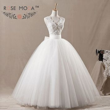 V Neck Fluffy Tulle Wedding Ball Gown Beaded Lace Corset Removable Bow Debutante Dress Vestidos de Noiva Real Photos