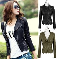 Women Fashion Clothing Autumn Winter Slim PU Leather Motorcycle Coat Zipper Short Jacket Tops Outwear = 1931834244