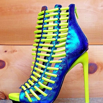 "Luichiny Crunch Time Neon Yellow Iridescent Blue Ankle Boots - 5"" Stiletto Heel Shoes"