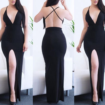 Halter Backless V-neck Bodycon Fishtail Slit Maxi Dress