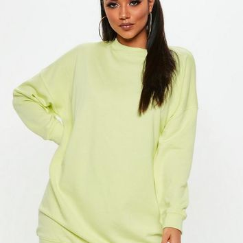 Missguided - Lime Fluro Long Sleeve Oversized Sweater Dress