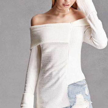 Ribbed Fold-Over Neck Sweater