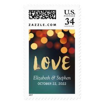 Chic Teal Gold LOVE Script & Bokeh Lights Wedding Postage