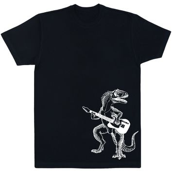 Seembo Dinosaur Playing Guitar Men's Cotton T-Shirt Side Print