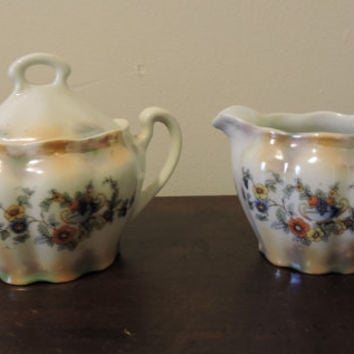 Vintage Orange Yellow Blue Floral Orange Grapes Design Porcelain Sugar & Creamer Made in Germany