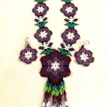 Purple Peyote Flower Necklace with Eagle Pattern, Huichol Necklace, Purple Necklace with Matching Earrings, Jewelry Set, Huichol Earrings