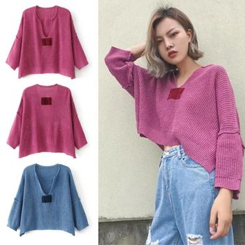 Ladies Knit V-neck Long Sleeve Sweater [31067996186]
