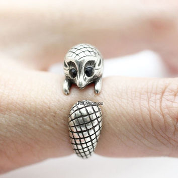 Hedgehog ring, spiny rat ring, Europaeus ring man ring, vintage ring, adjustable ring, animal ring, wrap ring, cute ring