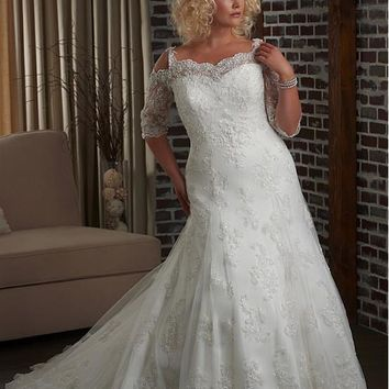[249.99] Alluring Tulle & Satin Sweetheart Neckline Natural Waistline Mermaid Plus Size Wedding Dress - dressilyme.com
