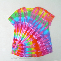 2XL Women's V-neck Tie Dye Shirt- Pink Rainbow Offset Spiral- Mother's Day Gift for Her