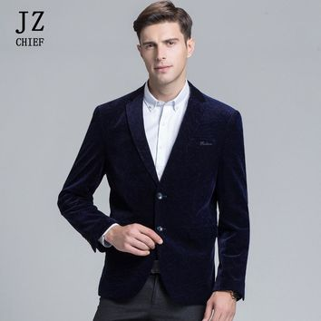 JZ CHIEF Spring Autumn Corduroy Jacket Men Business Blazer Slim Fit Smart Casual Velvet Blazer Masculine Coat Outerwear Overcoat