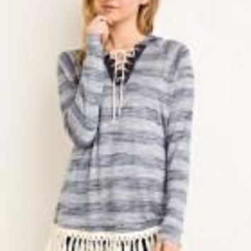 Strip V Neck w laceup detail hood crochet fringe detail on front hem