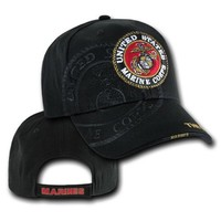 U.S. Marines USMC Logo Shadow Military Cap Hat, Black