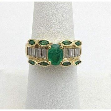 Luxinelle Natural Oval and Marquise Emerald Yellow Gold Ring with Baguette Diamonds 14 by Luxinelle® Jewelry